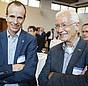 Martin Sambale (links) vom Bundesverband der Energie- und Klimaschutzagenturen und Dr. Reinhard Loch von der Verbraucherzentrale Nordrhein-Westfalen e.V. beim Open Space.