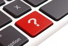 Tastatur mit roter Taste mit Fragezeichen