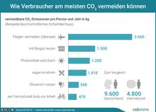 Wie Verbraucher am meisten CO2 vermeiden können – Balkendiagramm mit Beispielen in kg CO2 pro Person und Jahr: Fliegen vermeiden (Übersee): 3.560; mit Biogas heizen: 1.500; Photovoltaik aufs Dach: 1.200; vegan ernähren: 1.010; Ökostrom nutzen: 590; per Fahrrad statt Auto zur Arbeit: 470 – und zum Vergleich die Gesamtzahlen: 9.6000 in Deutschland, 4.800 international