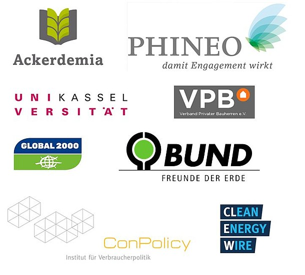 Ehemalige Partner: Ackerdemia, Phineo, BUND, Uni Kassel, ConPolicy, CLEW, VPB, Global 2000