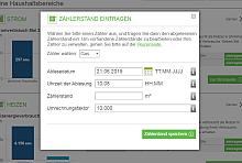 Zählerstand eingeben: Screenshot aus dem Energiesparkonto mit Formular zum Eingeben von Zähler, Datum, Uhrzeit, Zählerstand und Umrechnungsfaktor