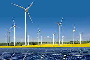 Verschiedene erneuerbare Energien an einem Ort