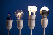 Entwicklung der Beleuchtung: Kerze, Glühbirne, Halogen, LED