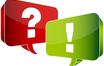 Frage- und Ausrufungszeichen in Sprechblasen