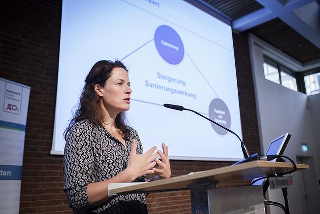 """Tanja Loitz, Geschäftsführerin der co2online gGmbH auf der Fachtagung """"Wirksam sanieren für den Klimaschutz"""""""