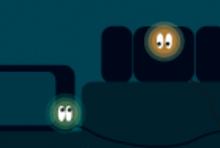 Elektrogeraete im Dunkeln mit leuchtenden Augen